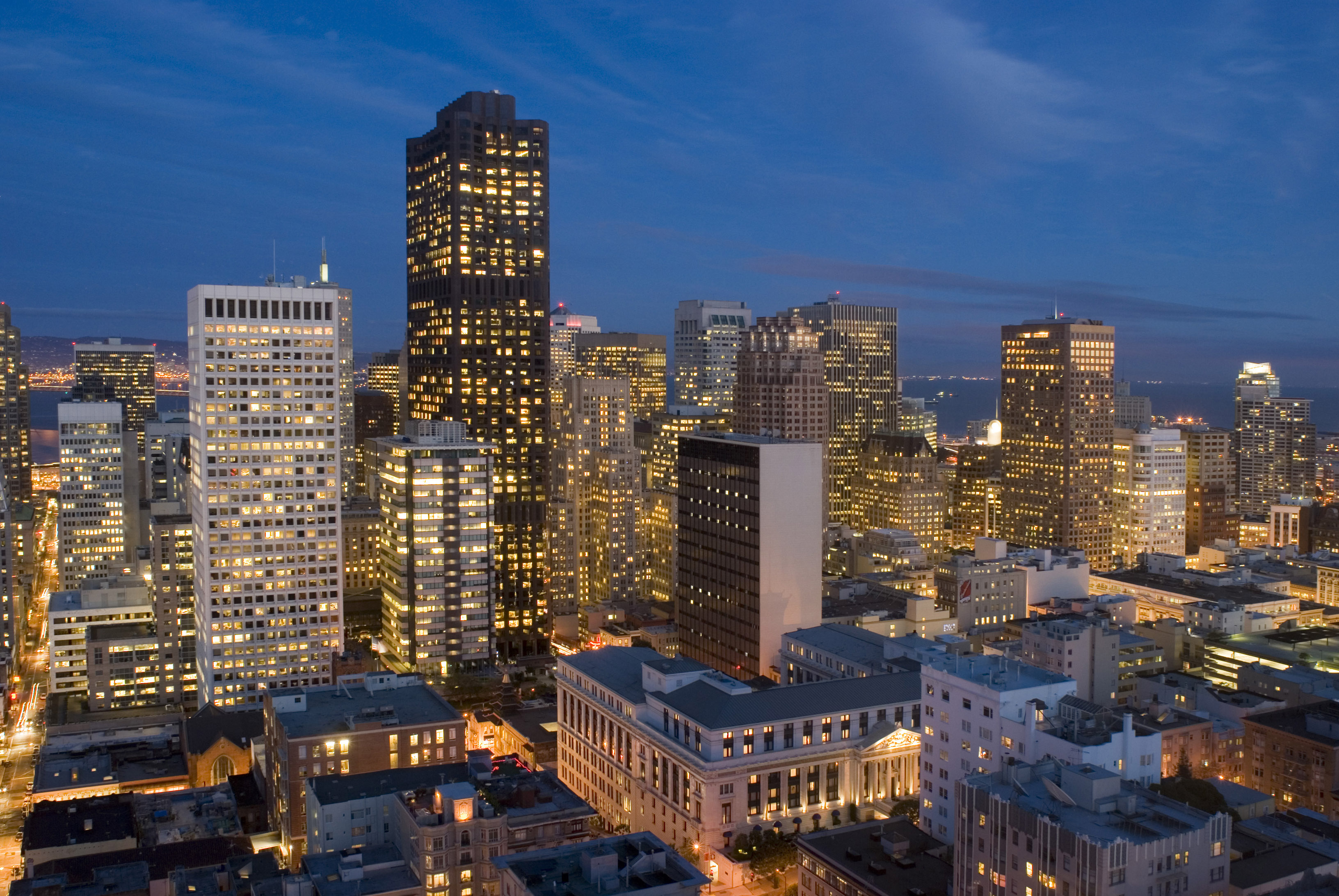 colourful and brightly lit cityscape of san francisco downtown at night