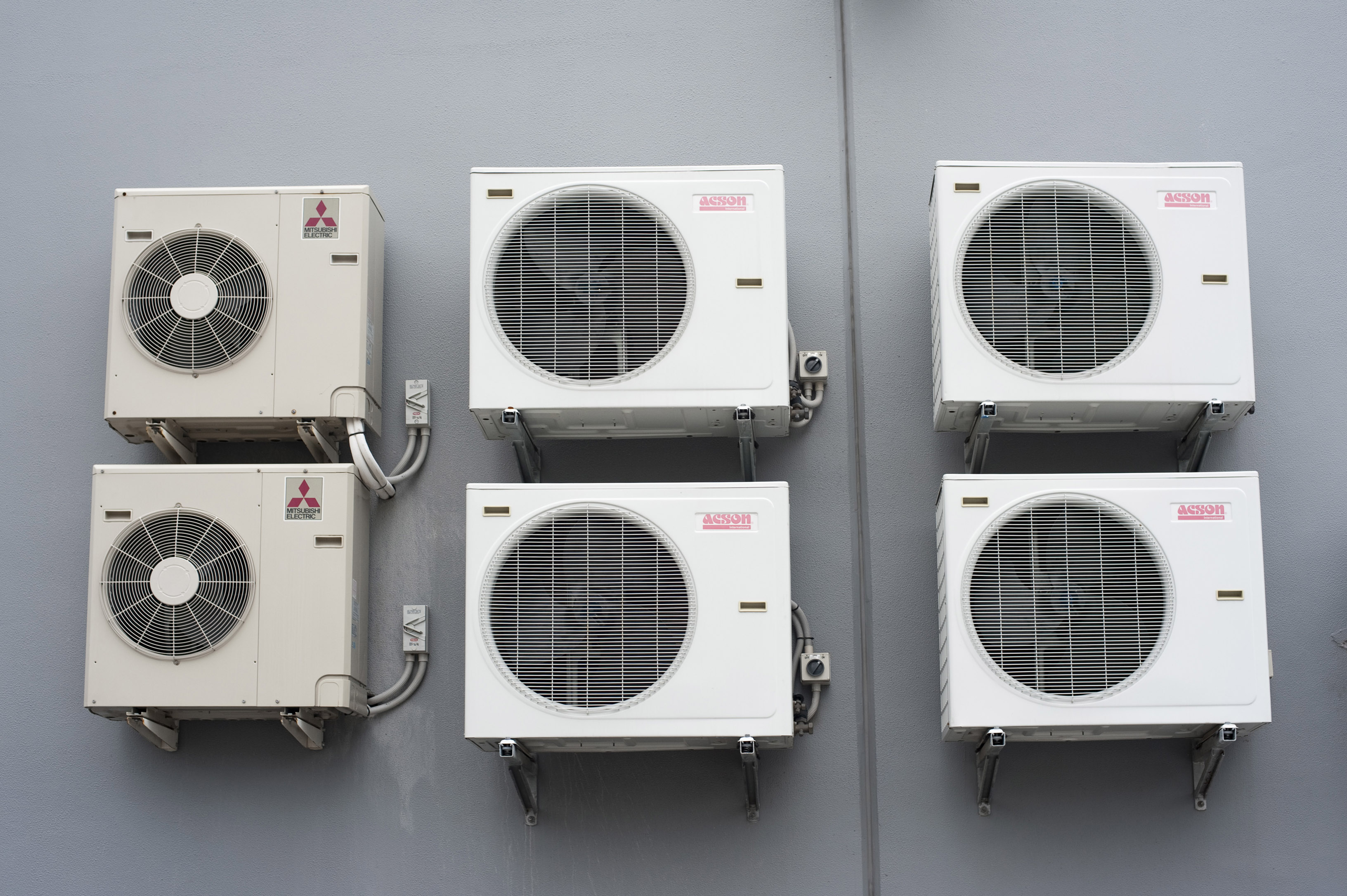 airconditioning heat exchangers on a wall