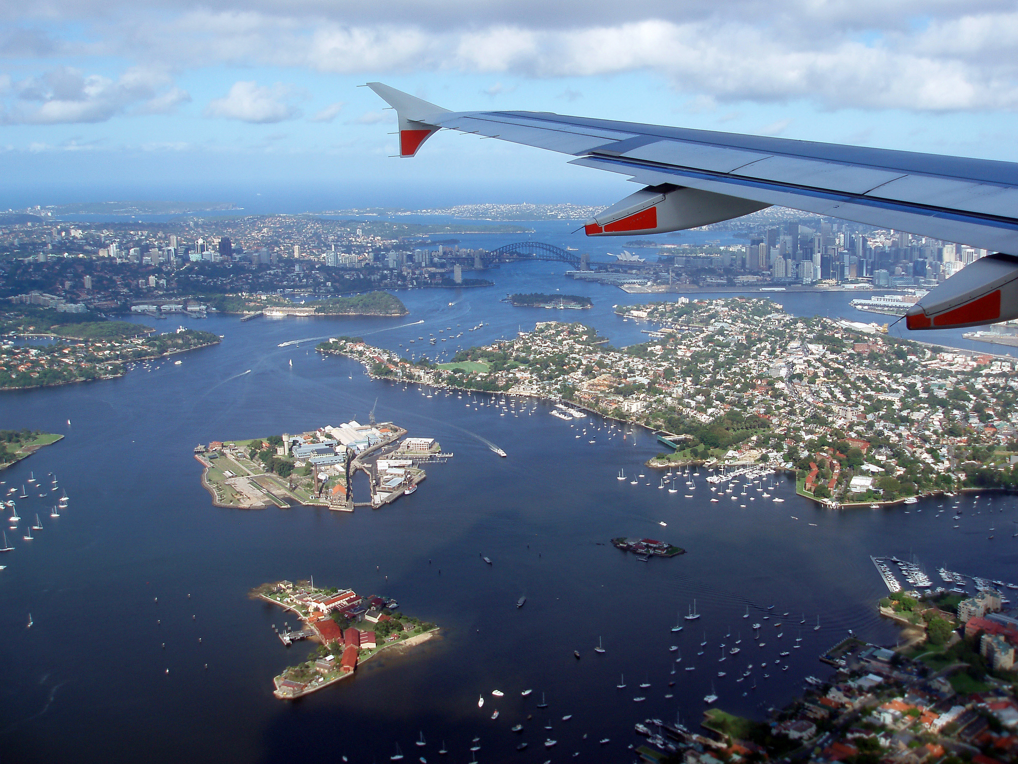 panoramic view of sydney from a plane